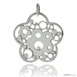 "Sterling Silver Flower Pendant, 1 3/16"" (30 mm)"