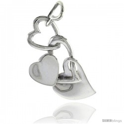 "Sterling Silver Heart Pendant, 1 7/16"" (36 mm)"