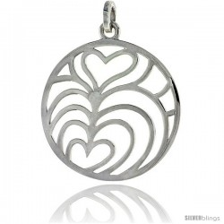 "Sterling Silver Round Pendant, w/ Overlapping Hearts 1 3/8"" (35 mm)"