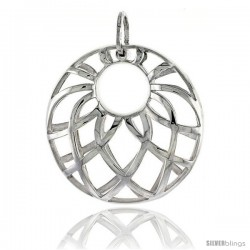 "Sterling Silver Round Pendant, 1 1/8"" (28 mm)"