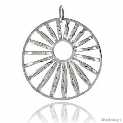 "Sterling Silver Round Pendant, 1 3/16"" (21 mm)"