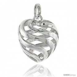 "Sterling Silver Heart Pendant, 3/4"" (20 mm)"