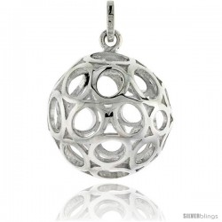 "Sterling Silver Ball Pendant, 7/8"" (23 mm)"