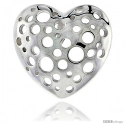 "Sterling Silver Heart Pendant, 13/16"" (21 mm)"