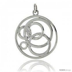 "Sterling Silver Round Pendant, 1 5/16"" (34 mm)"