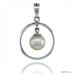Sterling Silver Dangle Pearl in Circle Pendant 11/16 in. (17 mm), High Polished Finish