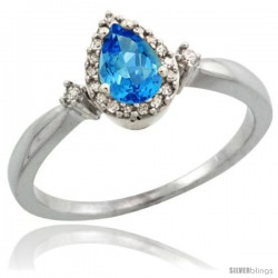Sterling Silver Diamond Natural Swiss Blue Topaz Ring 0.33 ct Tear Drop 6x4 Stone 3/8 in wide