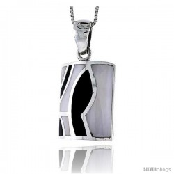 "Sterling Silver Rectangular Shell Shell Pendant, w/ Black & White Mother of Pearl inlay, 1 1/4"" (32 mm) tall& 18"" Thin Snake"