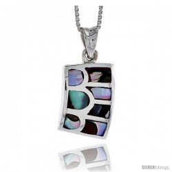 "Sterling Silver Striped Rectangular Shell Pendant, w/ Colorful Mother of Pearl inlay, 7/8"" (22 mm) tall& 18"" Thin Snake Chain"