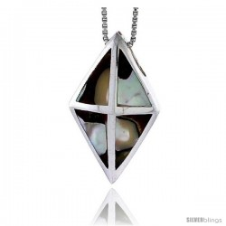 "Sterling Silver Diamond-shaped Slider Shell Pendant, w/ Colorful Mother of Pearl inlay, 1 5/16"" (33 mm) tall& 18"" Thin Snake"