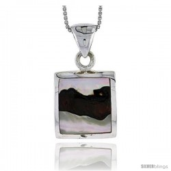 "Sterling Silver Square Shell Pendant, w/ Colorful Mother of Pearl inlay, 1"" (25 mm) tall& 18"" Thin Snake Chain"