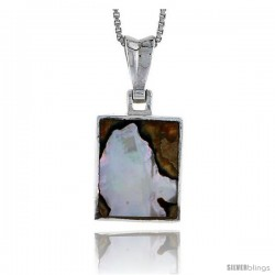 "Sterling Silver Square Shell Pendant, w/ Colorful Mother of Pearl inlay, 1"" (25 mm) tall& 18"" Thin Snake Chain -Style Tps13"