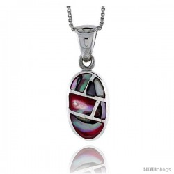 "Sterling Silver Oval Shell Pendant, w/ Colorful Mother of Pearl inlay, 15/16"" (24 mm) tall& 18"" Thin Snake Chain"
