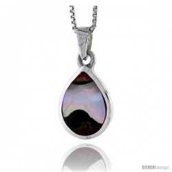 "Sterling Silver Pear-shaped Shell Pendant, w/ Colorful Mother of Pearl inlay, 3/4"" (20 mm) tall& 18"" Thin Snake Chain"