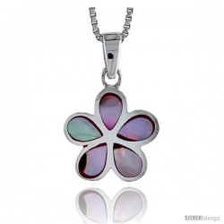 "Sterling Silver Five-Petal Flower Shell Pendant, w/ Colorful Mother of Pearl inlay, 3/4"" (19 mm) tall& 18"" Thin Snake Chain"
