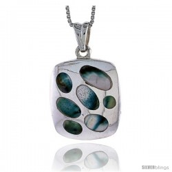 "Sterling Silver Cushion-shaped Shell Pendant, w/ Blue-Green Mother of Pearl inlay, 1 1/8"" (29 mm) tall& 18"" Thin Snake Chain"