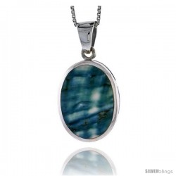 "Sterling Silver Oval Shell Pendant, w/ Blue-Green Mother of Pearl inlay, 1 1/16"" (27 mm) tall& 18"" Thin Snake Chain"