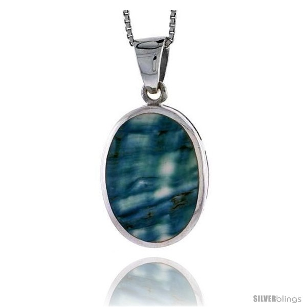 29 mm Sterling Silver Cushion-shaped Shell Pendant w// Blue-Green Mother of Pearl inlay tall/& 18 Thin Snake Chain 1 1//8 inch