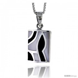 "Sterling Silver Rectangular Shell Pendant, w/ Black & White Mother of Pearl inlay, 3/4"" (19 mm) tall& 18"" Thin Snake Chain"