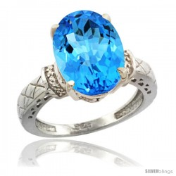 Sterling Silver Diamond Natural Swiss Blue Topaz Ring 5.5 ct Oval 14x10 Stone