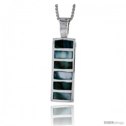 "Sterling Silver Striped Rectangular Shell Pendant, w/ Blue-Green Mother of Pearl inlay, 1"" (26 mm) tall& 18"" Thin Snake Chain"