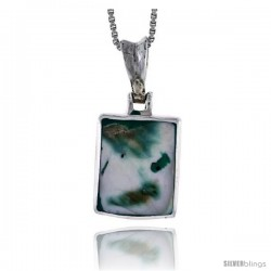 "Sterling Silver Square-shaped Shell Pendant, w/ Blue-Green Mother of Pearl inlay, 13/16"" (20 mm) tall& 18"" Thin Snake Chain"