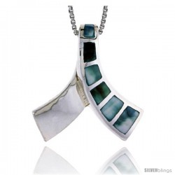 "Sterling Silver Knot Slider Shell Pendant, w/ Blue-Green Mother of Pearl inlay, 1"" (25 mm) tall& 18"" Thin Snake Chain"