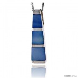 "Sterling Silver Tower Slider Shell Pendant, w/ Blue Mother of Pearl inlay, 1 3/8"" (35 mm) tall& 18"" Thin Snake Chain"