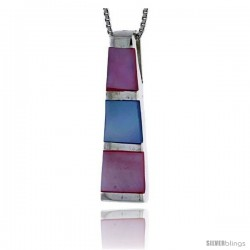 "Sterling Silver Tower Slider Shell Pendant, w/ Pink & Blue Mother of Pearl inlay, 1 1/16"" (27 mm) tall& 18"" Thin Snake Chain"