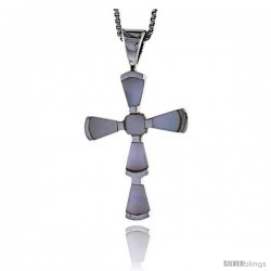 "Sterling Silver Fancy Cross Shell Pendant, w/ Pink Mother of Pearl inlay, 1 3/16"" (30 mm) tall& 18"" Thin Snake Chain"