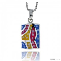 "Sterling Silver Rectangular Shell Pendant, w/ Colorful Mother of Pearl inlay, 3/4"" (20 mm) tall& 18"" Thin Snake Chain"