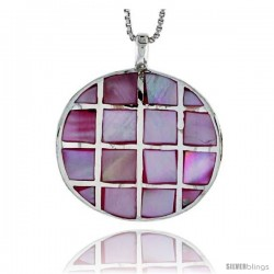 "Sterling Silver Checkerboard Design Round Shell Pendant, w/ Pink Mother of Pearl inlay, 1 1/16"" (27 mm)& 18"" Thin Snake Chain"
