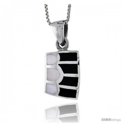 "Sterling Silver Striped Rectangular Shell Pendant, w/ Black & White Mother of Pearl inlay, 7/8"" (22 mm) tall& 18"" Thin Snake"