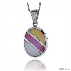 "Sterling Silver Striped Oval Shell Pendant, w/ Yellow, Pink & Blue Mother of Pearl inlay, 1 1/16"" (27 mm) tall& 18"" Thin Snake"