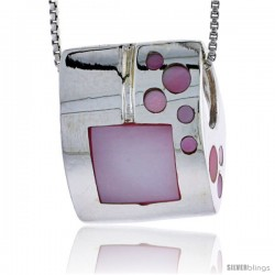 "Sterling Silver Square Slider Shell Pendant, w/ Pink Mother of Pearl inlay, 7/8"" (22 mm) tall& 18"" Thin Snake Chain"