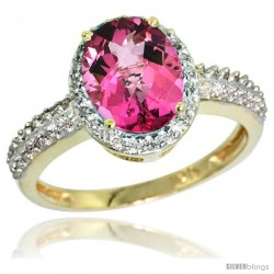 10k Yellow Gold Diamond Pink Topaz Ring Oval Stone 9x7 mm 1.76 ct 1/2 in wide