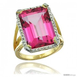 10k Yellow Gold Diamond Pink Topaz Ring 14.96 ct Emerald shape 18x13 Stone 13/16 in wide