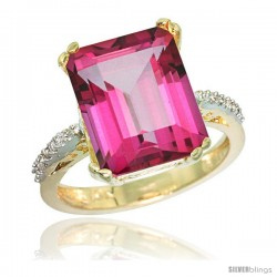 10k Yellow Gold Diamond Pink Topaz Ring 5.83 ct Emerald Shape 12x10 Stone 1/2 in wide