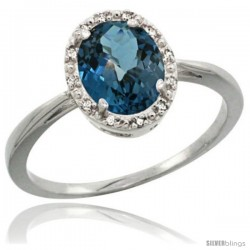Sterling Silver Natural London Blue Topaz Diamond Halo Ring 1.17 Carat 8X6 mm Oval Shape, 1/2 in wide