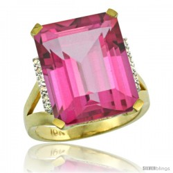 10k Yellow Gold Diamond Pink Topaz Ring 12 ct Emerald Cut 16x12 stone 3/4 in wide