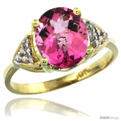 10k Yellow Gold Diamond Pink Topaz Ring 2.40 ct Oval 10x8 Stone 3/8 in wide