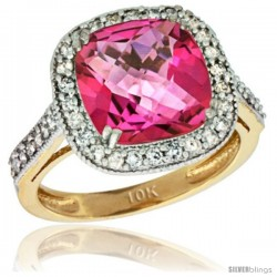 10k Yellow Gold Diamond Halo Pink Topaz Ring Checkerboard Cushion 9 mm 2.4 ct 1/2 in wide