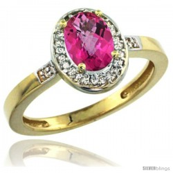 10k Yellow Gold Diamond Pink Topaz Ring 1 ct 7x5 Stone 1/2 in wide