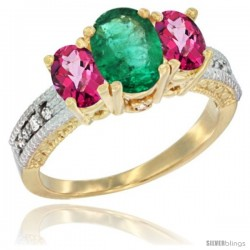10K Yellow Gold Ladies Oval Natural Emerald 3-Stone Ring with Pink Topaz Sides Diamond Accent