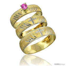 10k Gold 3-Piece Trio Pink Sapphire Wedding Ring Set Him & Her 0.10 ct Rhodium Accent Diamond-cut Pattern -Style 10y503w3