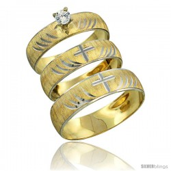 10k Gold 3-Piece Trio White Sapphire Wedding Ring Set Him & Her 0.10 ct Rhodium Accent Diamond-cut Pattern -Style 10y503w3