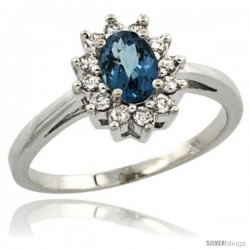 Sterling Silver Natural London Blue Topaz Diamond Halo Ring Oval Shape 1.2 Carat 6X4 mm, 1/2 in wide