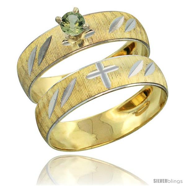 https://www.silverblings.com/27812-thickbox_default/10k-gold-ladies-2-piece-0-25-carat-green-sapphire-engagement-ring-set-diamond-cut-pattern-rhodium-accent-3-16-style-10y504e2.jpg
