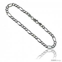 Sterling Silver Italian Figaro Chain Necklaces & Bracelets 4.5mm Beveled Edges Nickel Free