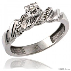 10k White Gold Diamond Engagement Ring w/ 0.08 Carat Brilliant Cut Diamonds, 5/32 in. (5mm) wide